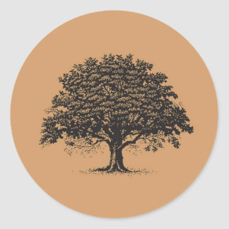 20 Spring Tree Brown/Black Wedding Envelope Seal Round Sticker