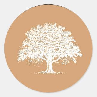 20 Spring Tree Brown White Wedding Envelope Seal Stickers