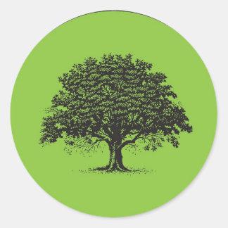 20 Spring Tree Green/Black Wedding Envelope Seal Round Sticker