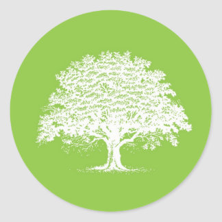 20 Spring Tree Green/White Wedding Envelope Seal Round Sticker