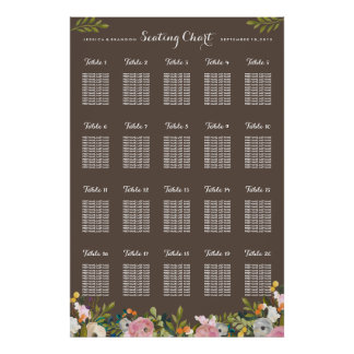 20 Table Floral Wedding Seating Chart by Table Poster