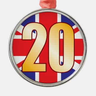 20 UK Gold Christmas Ornament