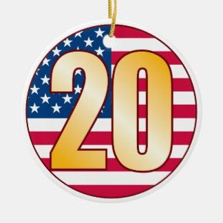 20 USA Gold Christmas Ornament