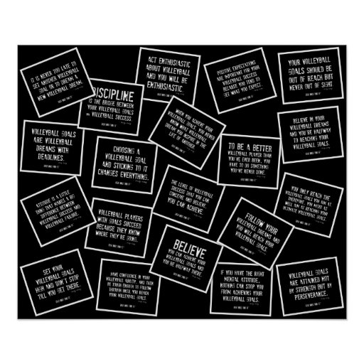 20 Volleyball Quotes in Black and White Poster