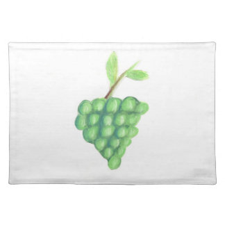 "20""x14"" TABLE PLACE MAT GREEN GRAPES - PASTEL ART"