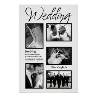 """20""""x30"""" 5 Slot Personalized Wedding Collage Montag Poster"""