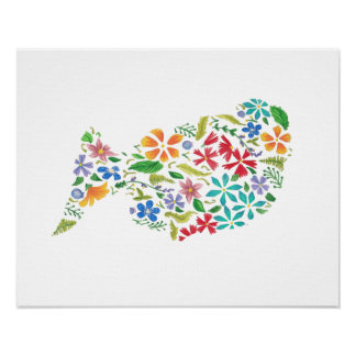 """20"""" x 16"""" Poster Floral Silhouette Wall Art"""