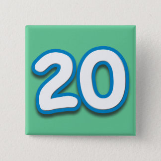 20 Year Birthday or Anniversary - Add Text 15 Cm Square Badge