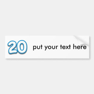 20 Year Birthday or Anniversary - Add Text Bumper Sticker