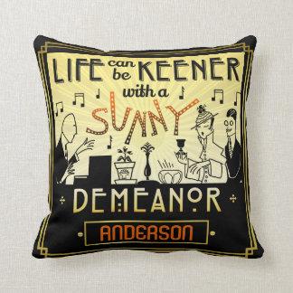 20s Retro Art Deco Sunny Demeanor Custom Name Cushion