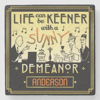20s Retro Art Deco Sunny Demeanor Custom Name Stone Coaster