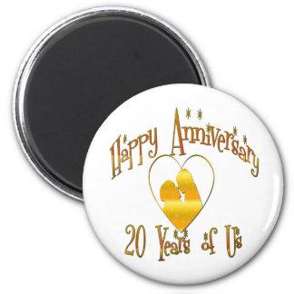 20th. Anniversary 6 Cm Round Magnet
