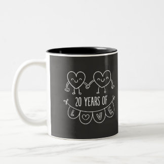 20th Anniversary Gift Chalk Hearts Two-Tone Coffee Mug