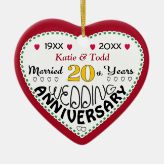20th Anniversary Gift Heart Shaped Christmas Christmas Ornament