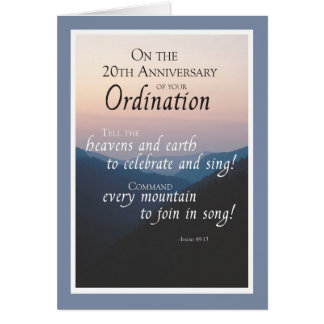 20th Anniversary of Ordination Congratulations Card