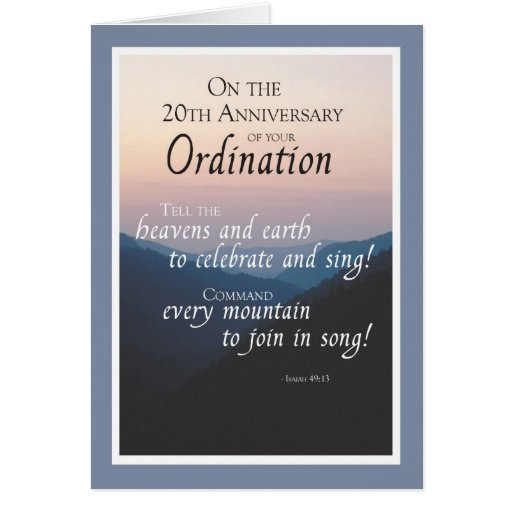 20th Anniversary of Ordination Congratulations Greeting Cards