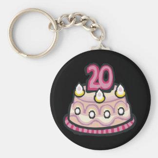 20th Birthday Basic Round Button Key Ring