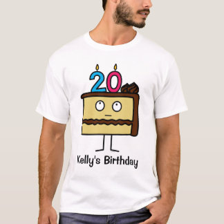 20th Birthday Cake with Candles T-Shirt