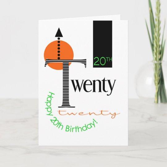 20th Birthday Card Graphic Design Zazzle