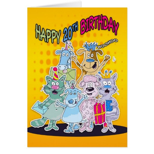 20th Birthday Card - Moonies Doodlematoons