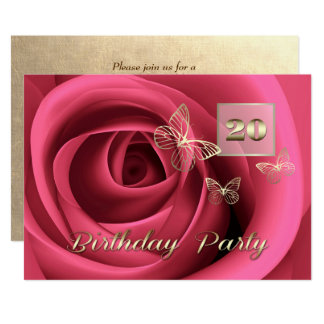 20th Birthday Celebration Custom Invitations