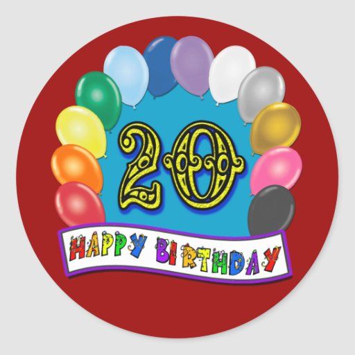 20th Birthday Gifts with Assorted Balloons Design Stickers