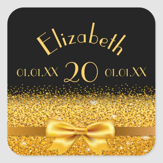 20th birthday gold bow with ribbon on black