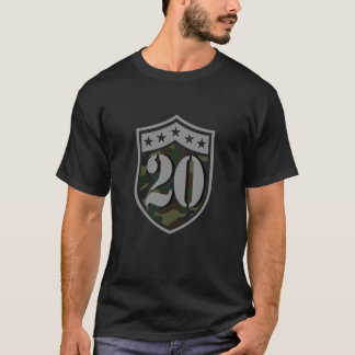 20th Birthday (Number 20 And Camouflage Shield) T-Shirt