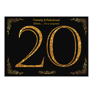 20th Birthday party,Gatsby styl,black gold glitter 13 Cm X 18 Cm Invitation Card