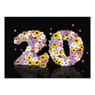 20th Birthday party, with flowered letters Invitation