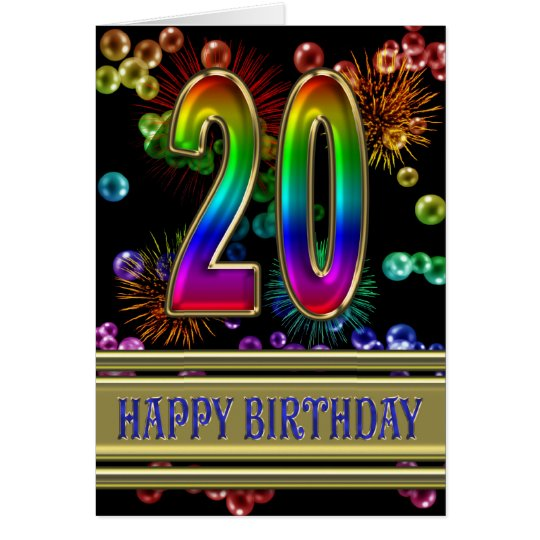 20th Birthday with rainbow bubbles and fireworks Card