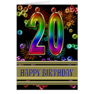 20th Birthday with rainbow bubbles and fireworks Greeting Card