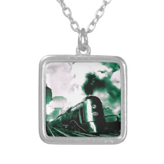 20th Century Limited Train Art Square Pendant Necklace