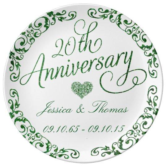 20th Emerald Wedding Anniversary Decorative Plate Porcelain