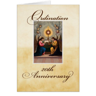 20th Ordination Anniversary Angels at Altar Greeting Card