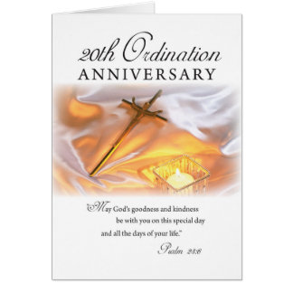 20th Ordination Anniversary, Cross Candle Card