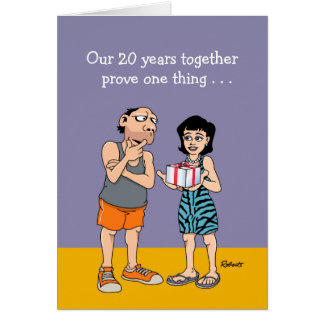 20th Wedding Anniversary Card: Love is blind Greeting Card