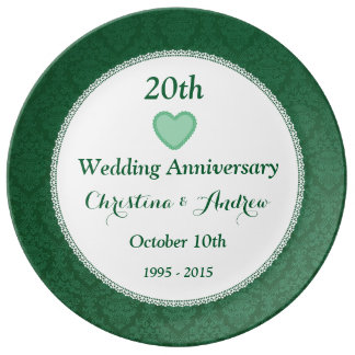 20th Wedding Anniversary Emerald Green W20A Plate
