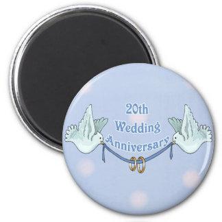 20th Wedding Anniversary 6 Cm Round Magnet