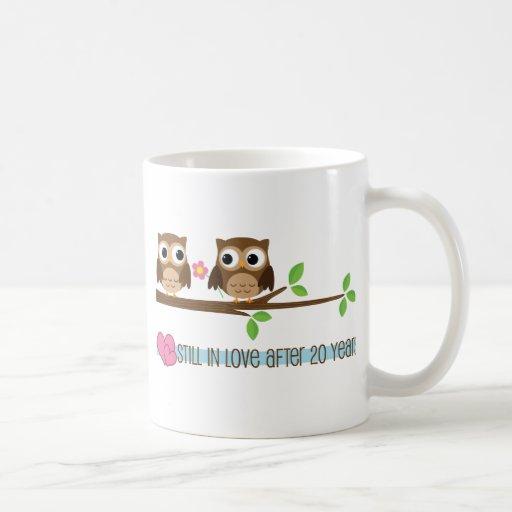 20th Wedding Anniversary Owls Mugs