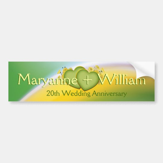 20th Wedding Anniversary Party Decoration Bumper Sticker