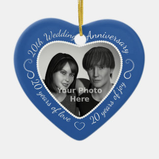 20th Wedding Anniversary Photo Christmas Ornament