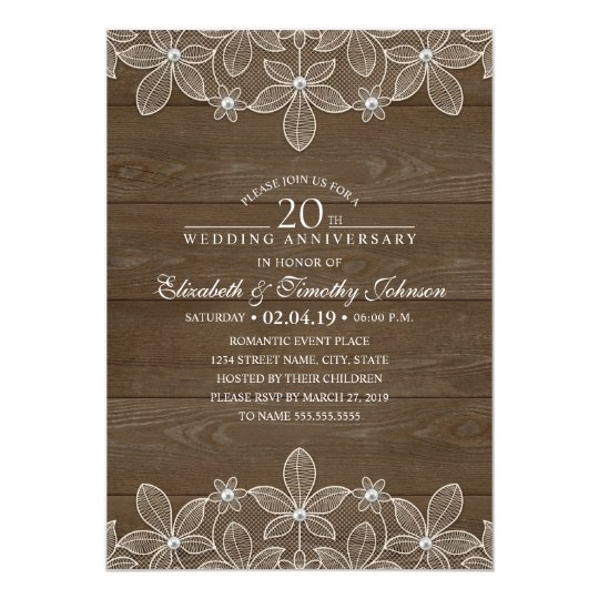 20th Wedding Anniversary Rustic Wood Country Lace Card