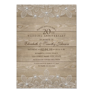20th Wedding Anniversary Rustic Wood Vintage Lace Card