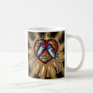 20th wedding anniversary square coffee mug