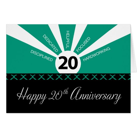 20th Year Business Employee Anniversary, Green Card