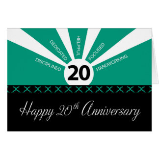 20th Year Business Employee Anniversary, Green Greeting Card