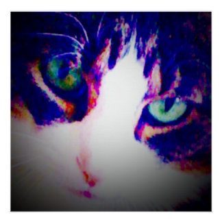 "20x20 semigloss poster ""green cat eyes."
