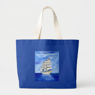 213674 SAILBOAT PAINTING BLUE SKIES WATER TRANSPOR JUMBO TOTE BAG