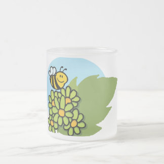 2138-Mascot-Cartoon-Character-Bee-Flying-Over-Flow Frosted Glass Mug